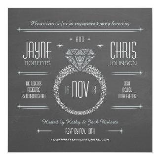 Invitación del fiesta del anillo de compromiso de