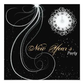 Invitación del fiesta del Año Nuevo - reloj de la