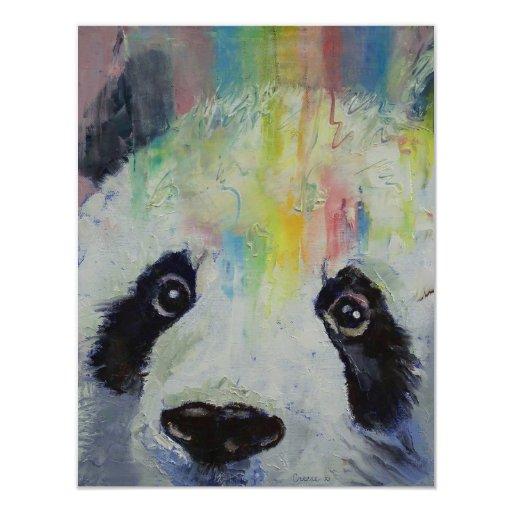 Invitación del fiesta del arco iris de la panda