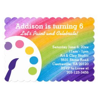 Invitación del fiesta del arte del arco iris invitación 12,7 x 17,8 cm