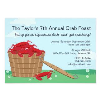 Invitación del fiesta del banquete del cangrejo invitación 12,7 x 17,8 cm