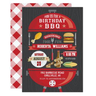 Invitación del fiesta del Bbq del cumpleaños