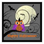 Invitación del fiesta del búho de Halloween