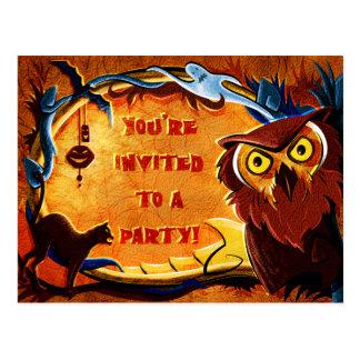 Invitación del fiesta del búho de Halloween Tarjetas Postales
