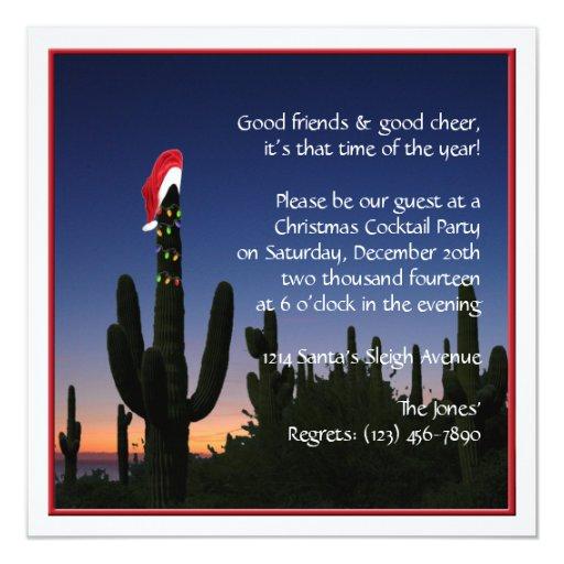 Invitación del fiesta del cactus de navidad invitación 13,3 cm x 13,3cm