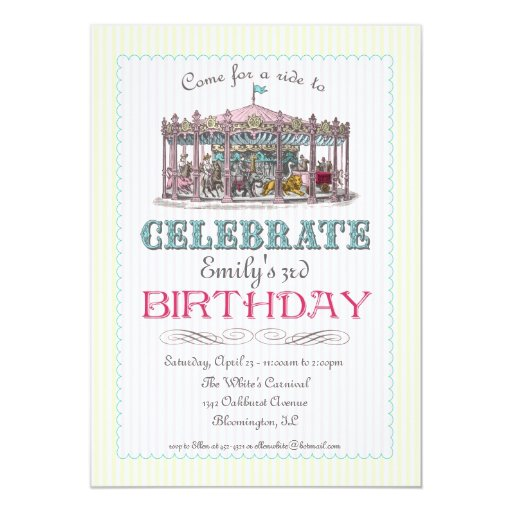 Invitación del fiesta del carrusel del vintage invitación 12,7 x 17,8 cm