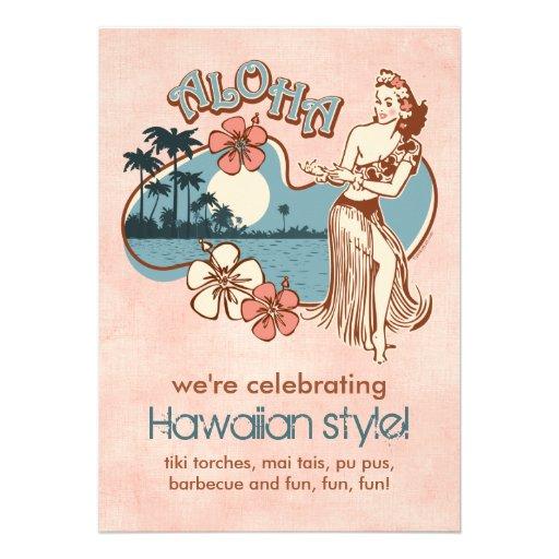 Invitación del fiesta del chica de Hula de la hawa