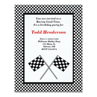 Invitación del fiesta del coche de carreras invitación 10,8 x 13,9 cm