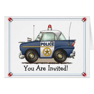 Invitación del fiesta del coche del poli de tarjeta de felicitación