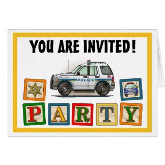 Invitación del fiesta del coche del poli del coche felicitación