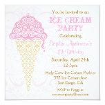 Invitación del fiesta del cono de helado