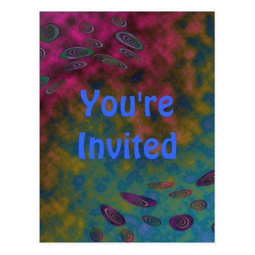 Invitación del fiesta del cosmos postal
