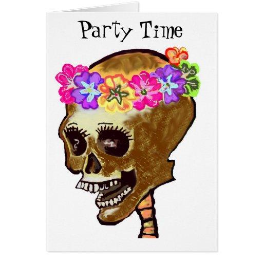Invitación del fiesta del cráneo tarjeta pequeña