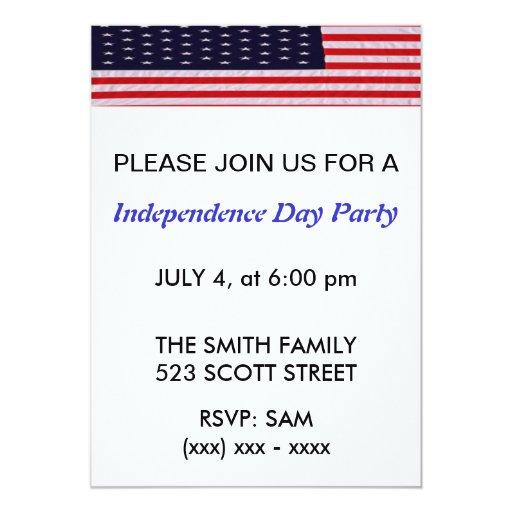 Invitación del fiesta del Día de la Independencia Invitación 12,7 X 17,8 Cm