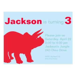 Invitación del fiesta del dinosaurio de los niños postales