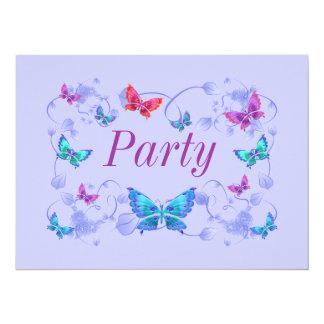 Invitación del fiesta del diseño de la mariposa