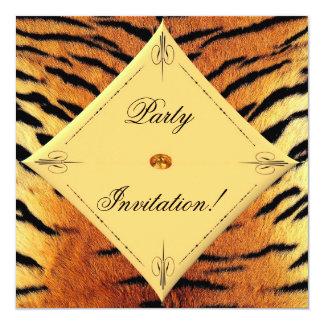 Invitación del fiesta del diseño del tigre