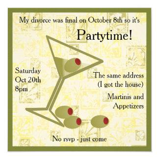 Invitación del fiesta del divorcio de Martini
