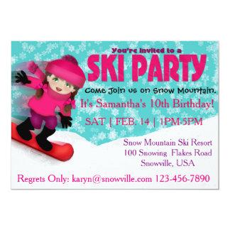 Invitación del fiesta del esquí de los chicas