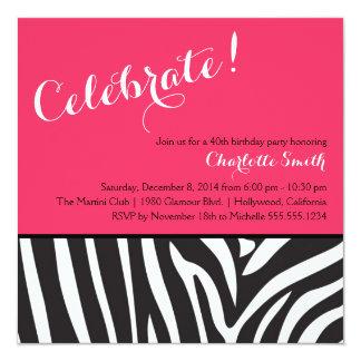 Invitación del fiesta del estampado de zebra