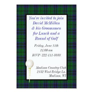Invitación del fiesta del golf del novio