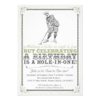 Invitación del fiesta del golf del vintage - hombr