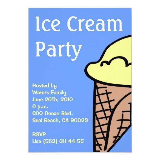Invitación del fiesta del helado