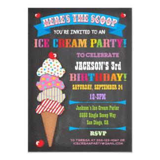 Invitación del fiesta del helado de la pizarra