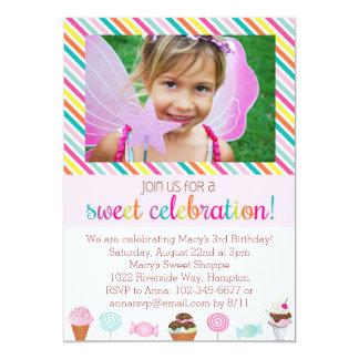 Invitación del fiesta del helado y del caramelo invitación 12,7 x 17,8 cm