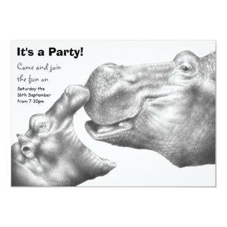 Invitación del fiesta del hipopótamo y del becerro