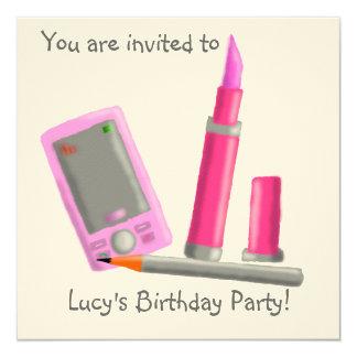 Invitación del fiesta del lápiz labial invitación 13,3 cm x 13,3cm