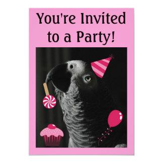 Invitación del fiesta del loro del gris africano