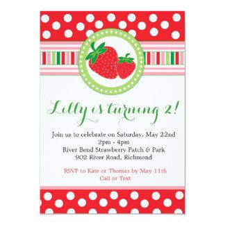 Invitación del fiesta del lunar de la fresa