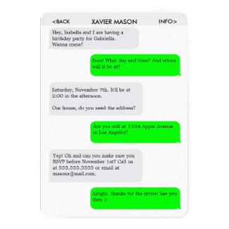 Invitación del fiesta del mensaje de texto