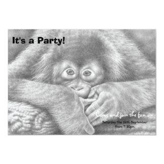 Invitación del fiesta del orangután del bebé