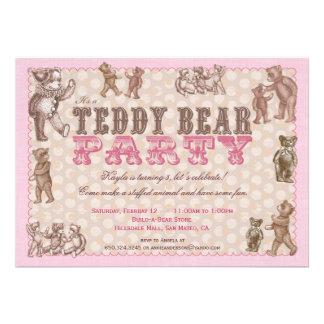 Invitación del fiesta del oso de peluche del estil