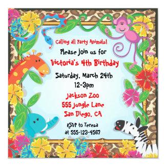 Invitación del fiesta del parque zoológico de la