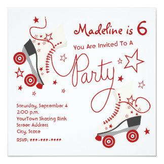 Invitación del fiesta del patín de ruedas - rojo