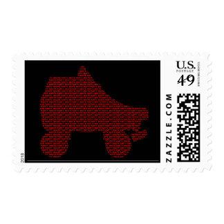 invitación del fiesta del patín: mecanografíe las sellos