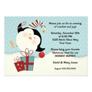 Invitación del fiesta del pingüino del navidad