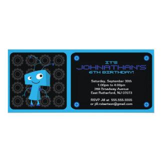 Invitación del fiesta del robot - azul invitación 10,1 x 23,5 cm