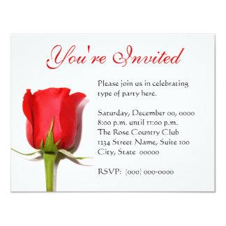 Invitación del fiesta del rosa rojo