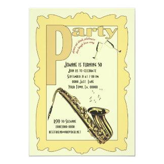Invitación del fiesta del saxofón del jazz invitación 12,7 x 17,8 cm