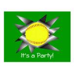 Invitación del fiesta del softball de Fastpitch Postal