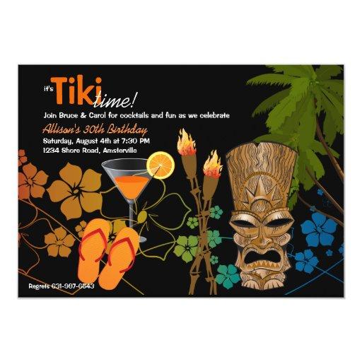 Invitación del fiesta del tiempo de Tiki