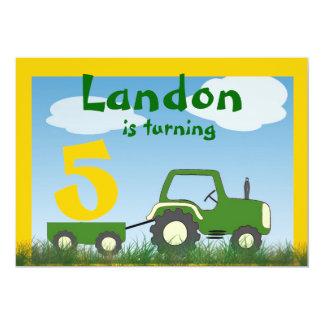 Invitación del fiesta del tractor: Edad en carro Invitación 12,7 X 17,8 Cm