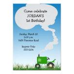 Invitación del fiesta del tractor: Tractor verde Invitación 12,7 X 17,8 Cm
