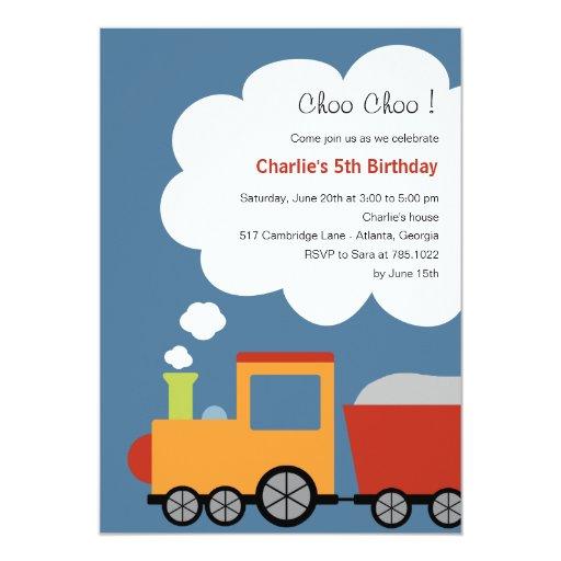 Invitación del fiesta del tren del cumpleaños