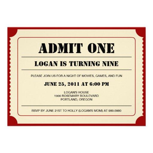 Invitación del fiesta del trozo de boleto