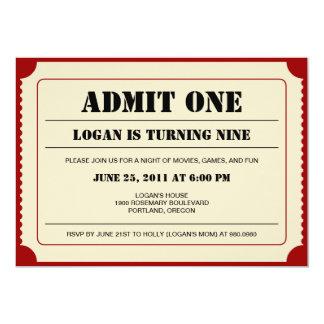 Invitación del fiesta del trozo de boleto invitación 12,7 x 17,8 cm